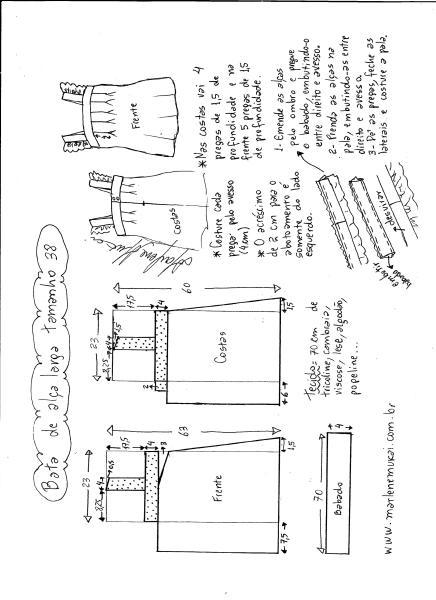 Esquema de modelagem de bata com alça larga e babado tamanho 38.