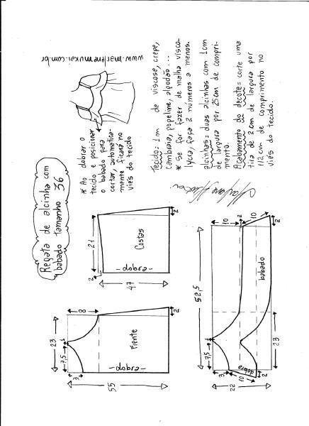 Esquema de modelagem de regata de alcinha com babado tamanho 36.