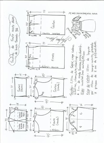Esquema de modelagem de vestido de festa com recorte abaixo do busto tamanho 56.