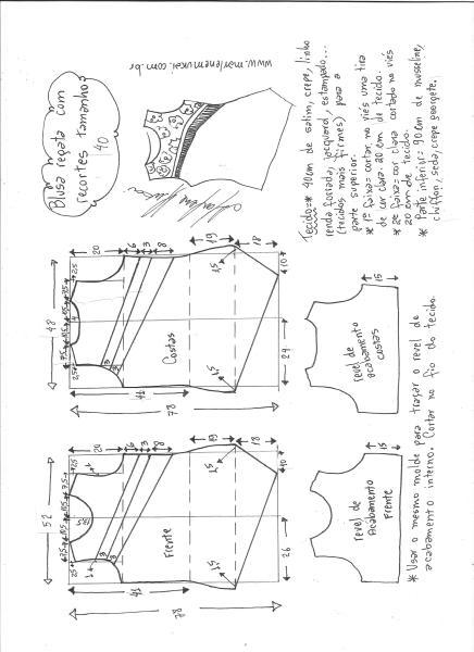 Esquema de modelagem de blusa regata com recortes diagonais tamanho 40.