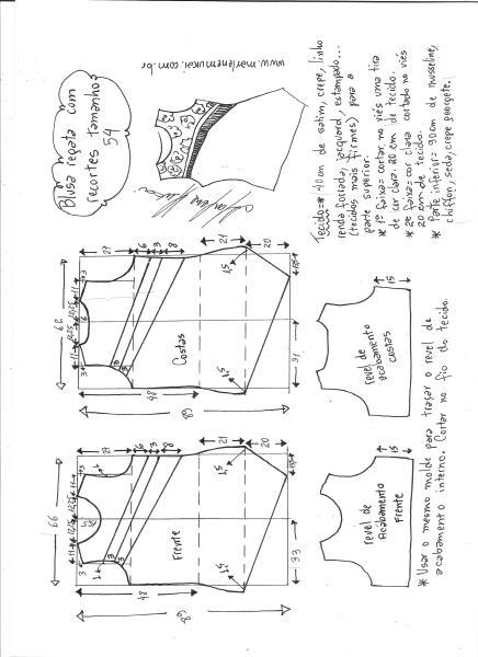 Esquema de modelagem de blusa regata com recortes diagonais tamanho 54.