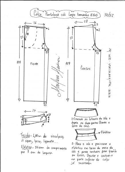 Esquema de modelagem de calça pantalona de cós largo tamanho EGG.