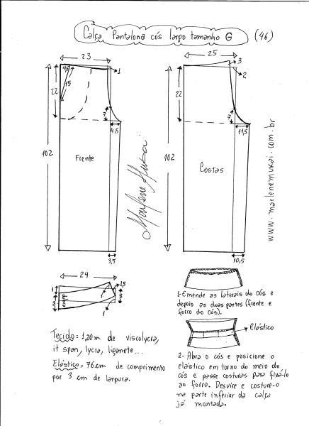 Esquema de modelagem de calça pantalona de cós largo tamanho G.