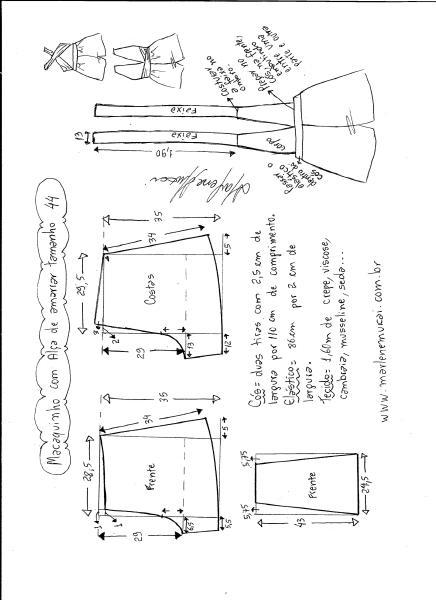 Esquema de modelagem de macaquinho de alças cruzadas tamanho 44.