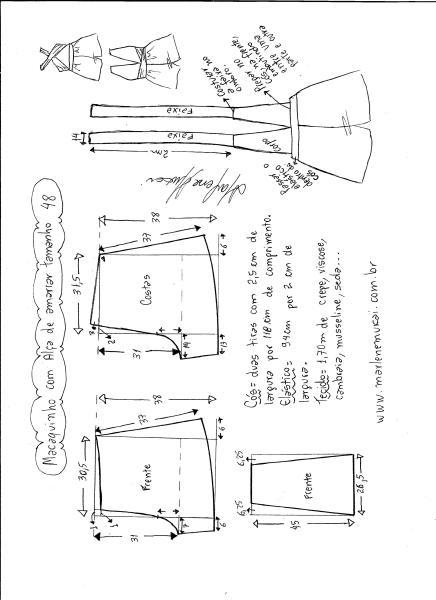 Esquema de modelagem de macaquinho de alças cruzadas tamanho 48.