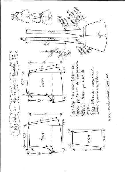 Esquema de modelagem de macaquinho de alças cruzadas tamanho 52.