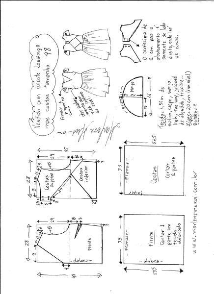 Esquema de modelagem de vestido com decote losango nas costas tamanho 48.