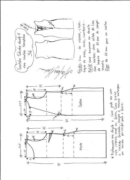 Esquema de modelagem de vestido tubinho com decote nas costas tamanho 36.