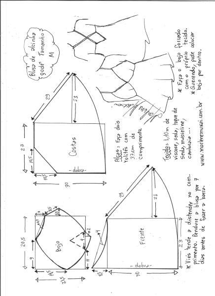 Esquema de modelagem de blusa de alcinha godê tamanho M.