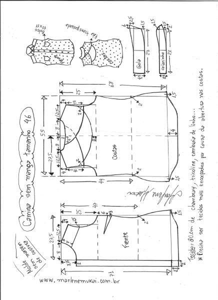 Esquema de modelagem de camisa sem manga com abertura nas costas tamanho 46.