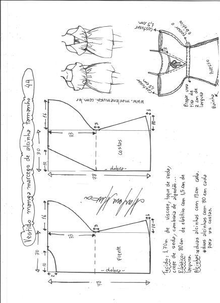 Esquema de modelagem de vestido de alcinha com manga morcego tamanho 44.