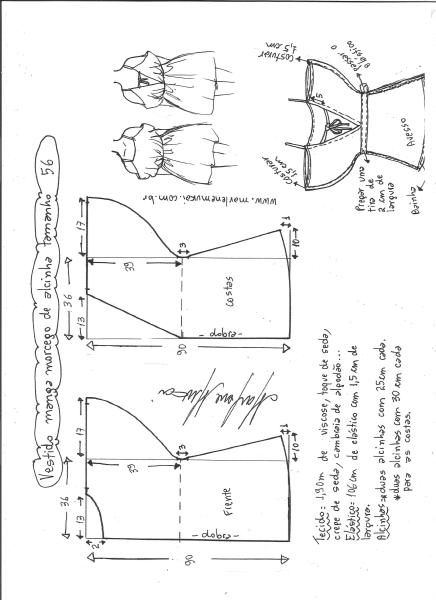 Esquema de modelagem de vestido de alcinha com manga morcego tamanho 56.