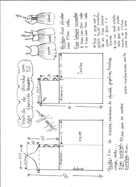 Esquema de modelagem de vestido de alcinha saia franzida tamanho 52.