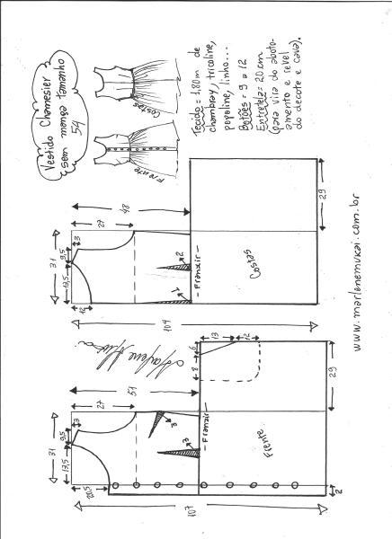 Esquema de modelagem de vestido chamisier tamanho 54.
