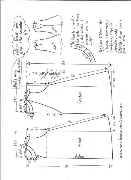 Esquema de modelagem de vestido evasê com gola alta tamanho 50.