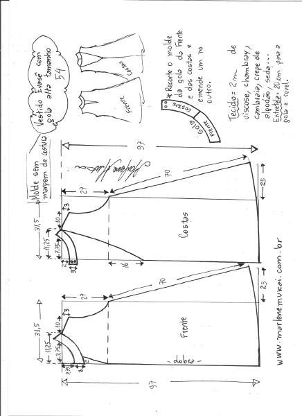 Esquema de modelagem de vestido evasê com gola alta tamanho 54.