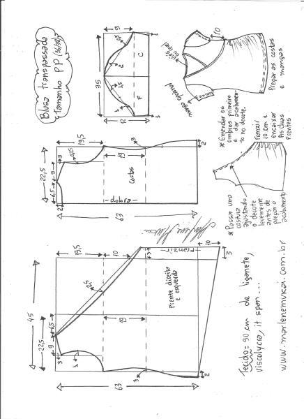 Esquema de modelagem de blusa transpassada de malha tamanho PP.