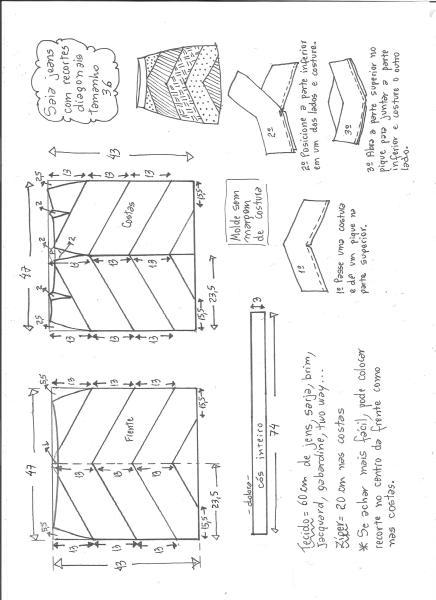 Esquema de modelagem de saia jeans com recortes tamanho 36.