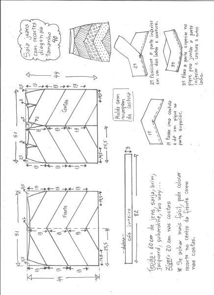 Esquema de modelagem de saia jeans com recortes tamanho 40.
