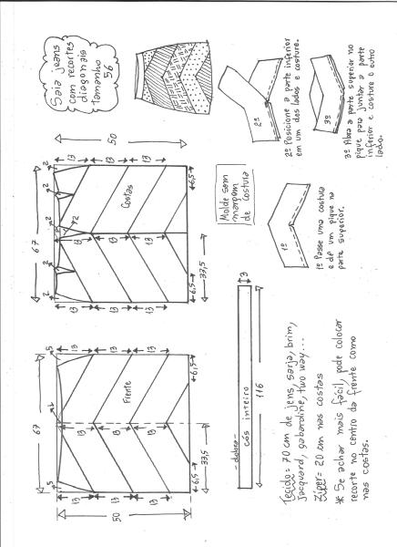 Esquema de modelagem de saia jeans com recortes tamanho 56.