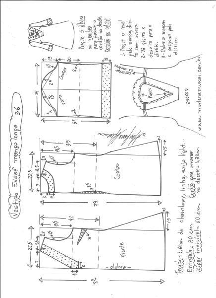 Esquema de modelagem de vestido evasê manga longa tamanho 36.