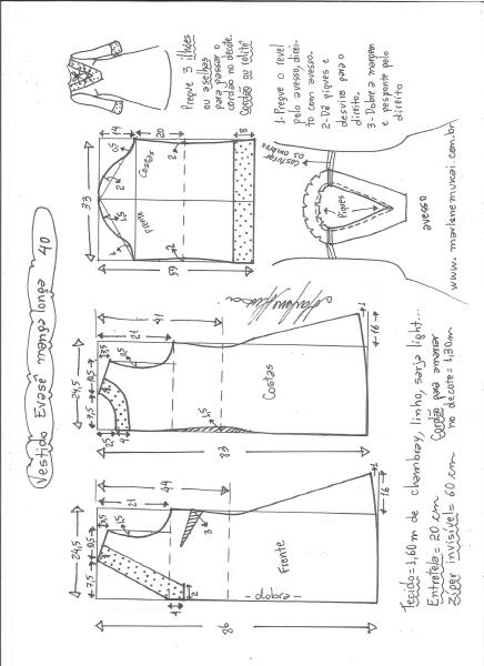 Esquema de modelagem de vestido evasê manga longa tamanho 40.