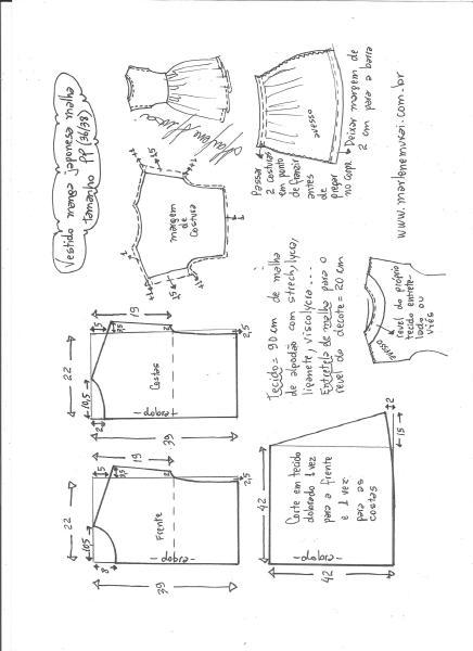 Esquema de modelagem de vestido manga japonesa malha tamanho PP.