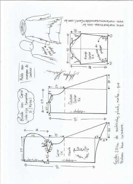 Esquema de modelagem de blusão com capuz tamanho G.