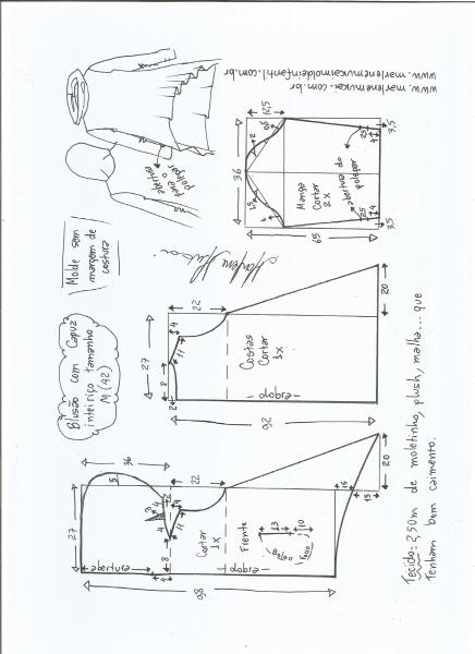 Esquema de modelagem de blusão com capuz tamanho M.
