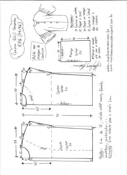 Esquema de modelagem de casaco sobretudo fácil EXG.