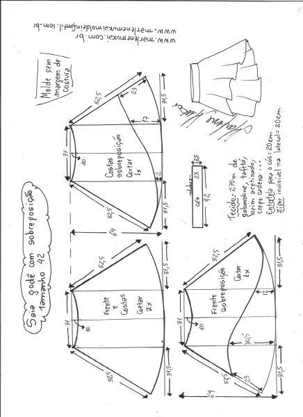 Esquema de modelagem de saia godê com sobreposição tamanho 42.