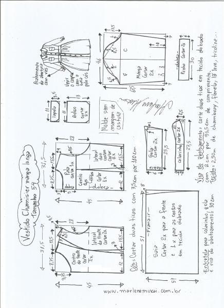 Esquema de modelagem  vestido chamesier manga longa saia franzida tamanho 54.