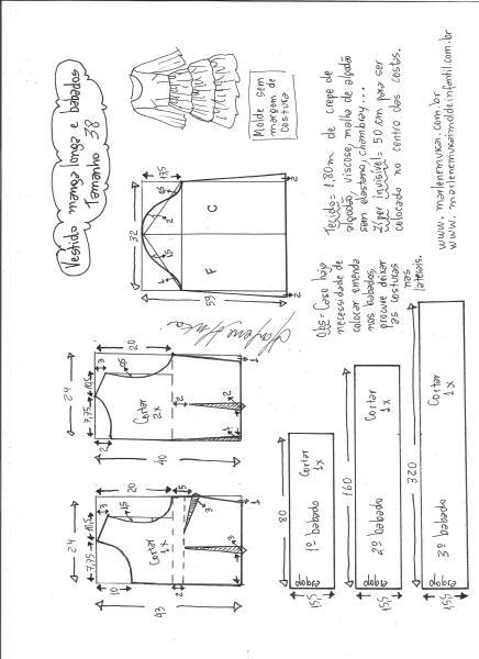 Esquema de modelagem de vestido manga longa babados tamanho 38.