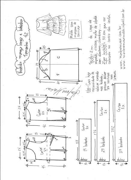 Esquema de modelagem de vestido manga longa babados tamanho 42.