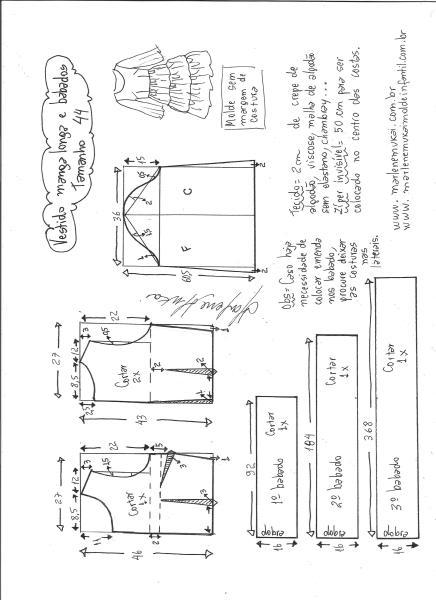 Esquema de modelagem de vestido manga longa babados tamanho 44.