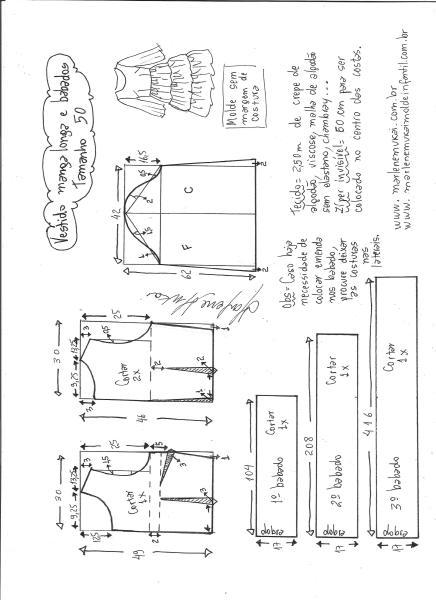 Esquema de modelagem de vestido manga longa 3 babados tamanho 50.
