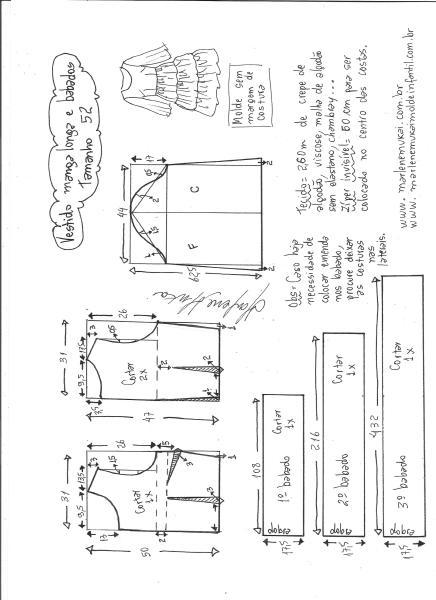 Esquema de modelagem de vestido manga longa babados tamanho 52.