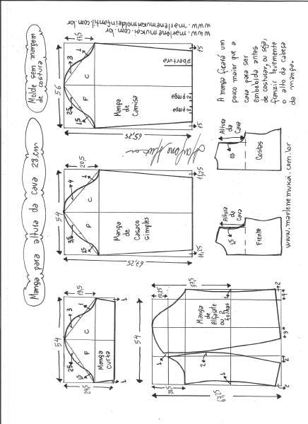 Esquema de modelagem de mangas curta, de casaco, camisa e alfaiate para altura de cava de 28 cm.