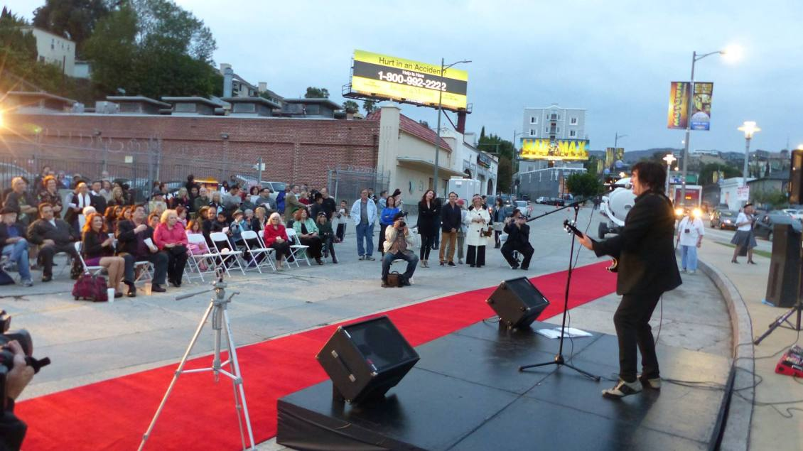 Performing Hollywood Rising at the lighting ceremony for the Hollywood Gateway Sign