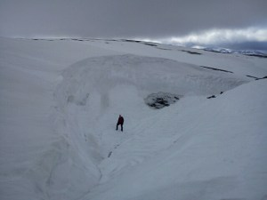 Me being dwarfed by a snow drift!