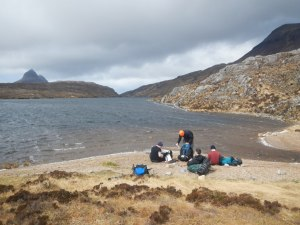 Lunch on the beach with Suilven in the background