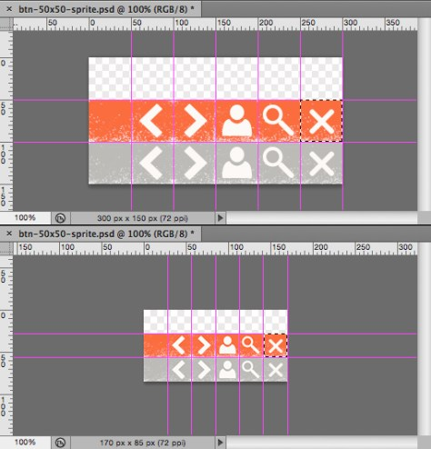 Compare real dimensions of close icon sizes within the sprite background-image; The original 50x50 VS the required 34x34 pixels in Photoshop viewport