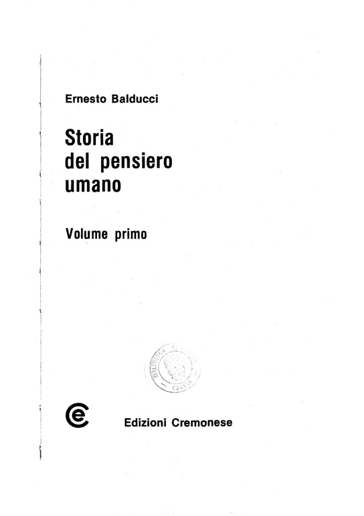 Padre Ernesto Balducci - Storia del pensiero umano - vol. 1