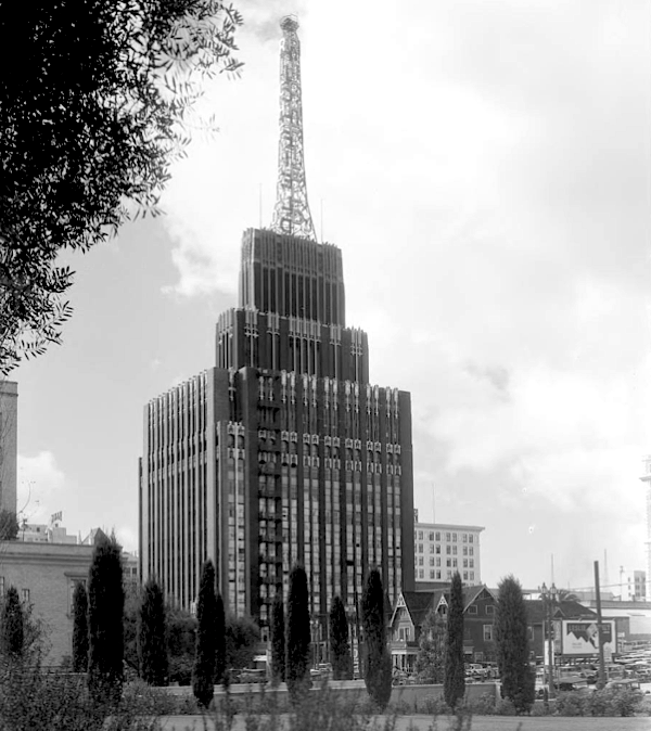 Richfield Building with cybress pines, downtown los angeles