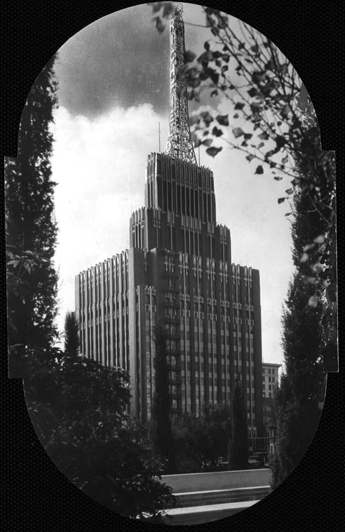 The Richfield Building, headquarters of Richfield Oil, was a 12-story Art Deco tower in Los Angeles designed by Stiles Clements