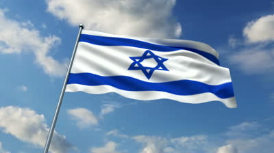 stock-footage-israeli-flag-waving-against-time-lapse-clouds-background