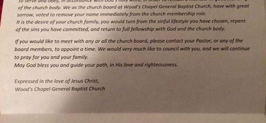 Woods Chapel General Baptist Church letter to Dylan Settles