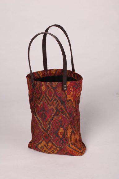 Canvas tote bag Brika Genuine Leather Handles Aztec print fabric