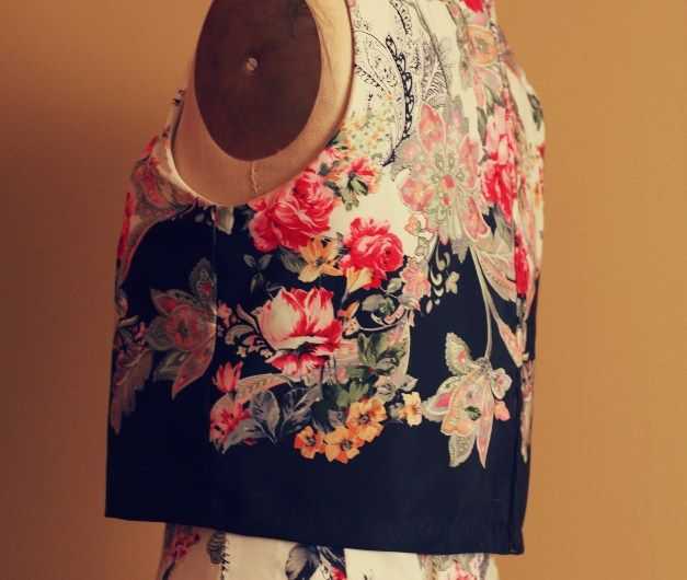 Red rose and black floral print colorful fabric crop top dress and pleated skirt Marusya baptism August 2014