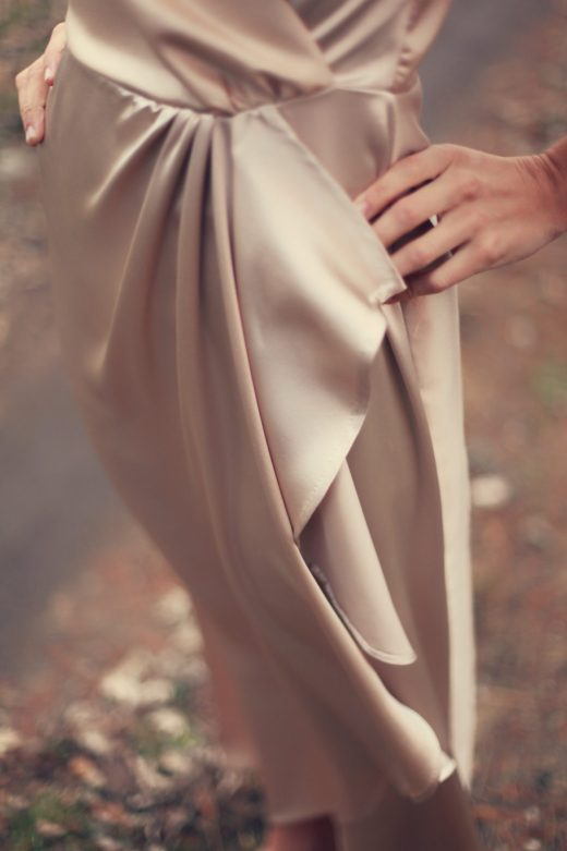 Silk Wool charmeuse champagne long dress crossover cascade gown